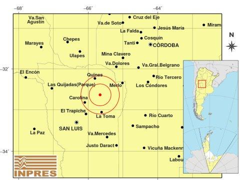Tembló al norte de La Toma y se sintió en cinco localidades
